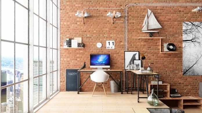 Exposed Red Brick Workspace