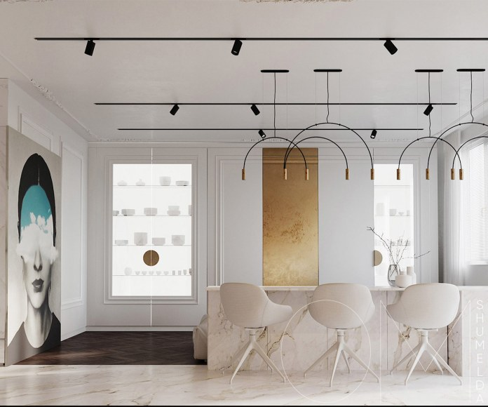 White Interior with Gold Color Accents