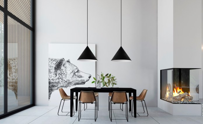 Minimalist Dining Room with Pendant Lights