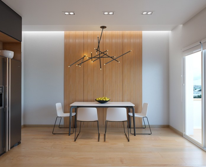 Minimalist Dining Room with Modern Chandelier
