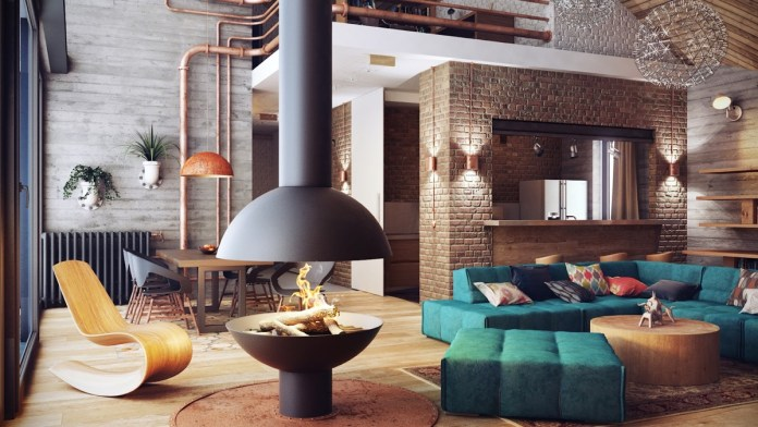 Industrial Design with Fireplace