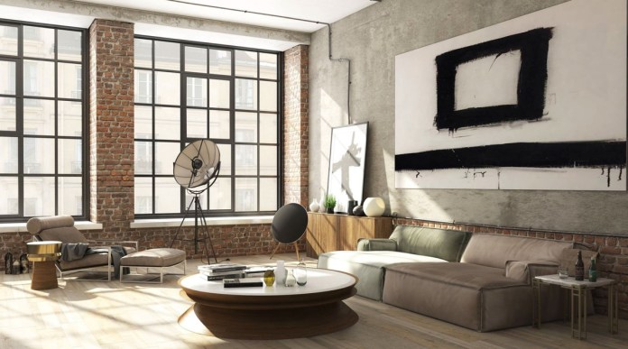 Monochrome Industrial Living Room