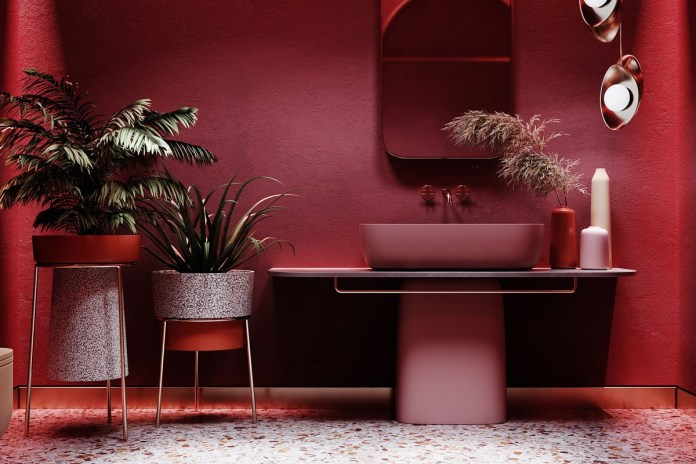 Tropical Accents in Red Interior