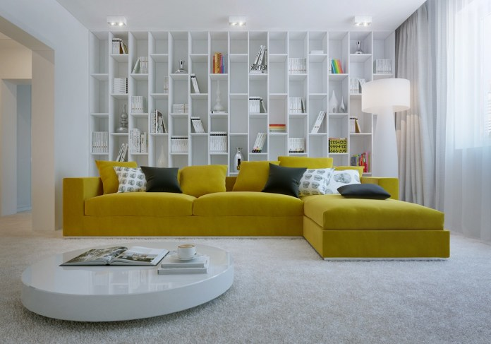 Yellow Sofa in the Interior of the Mini Library
