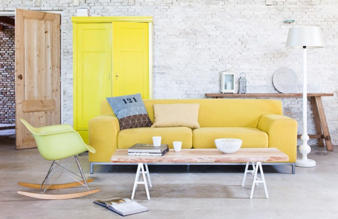 Yellow Sofa in an Industrial Interior