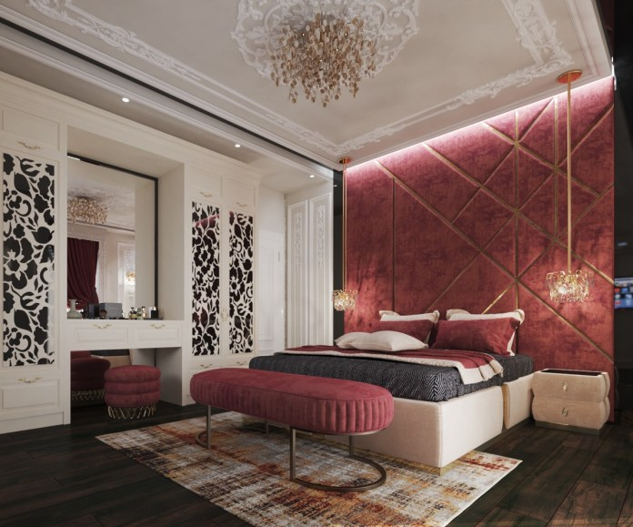 Luxurious Red Bedroom