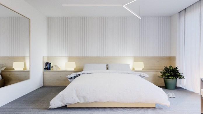 Minimalist Bedroom with Textural Wall