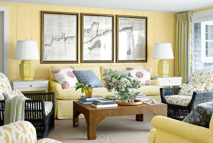 Yellow Sofa in a Vintage Interior