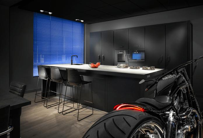 Automotive Style Dark Kitchen