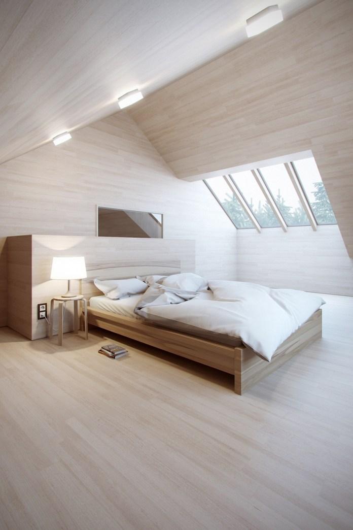 Minimalist Wooden Attic Bedroom