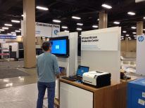 Here's Craig White from HP getting the demo set up. Craig is a Technologist for HP Indigo Workflow Solutions at HP