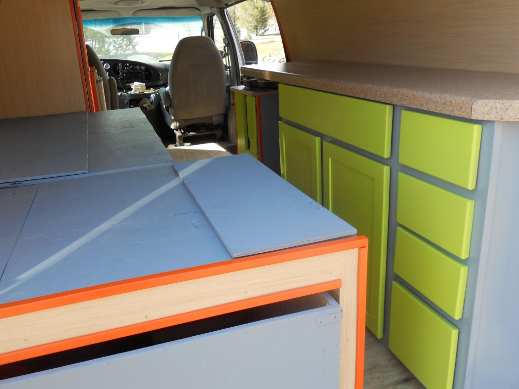 Campervan kitchen and storage