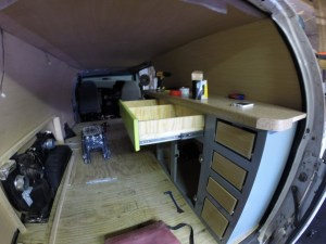 Finished van kitchen with custom drawer
