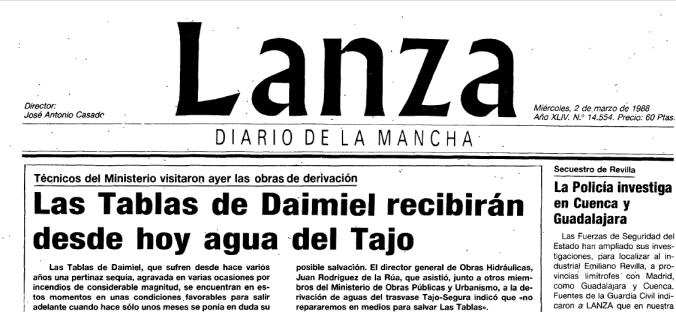 Las Tablas de Daimiel reciben agua del Tajo