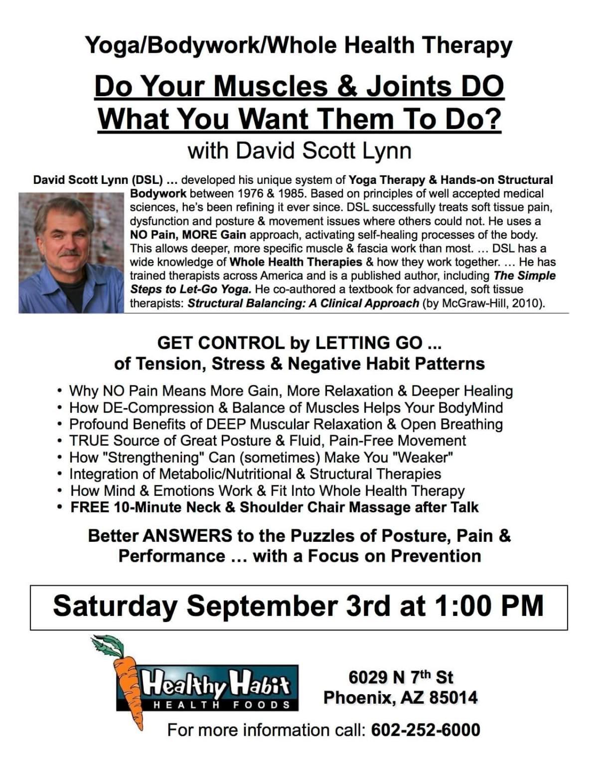 Flyer for DSL Intro Seminar at Healthy Habit in Phoenix