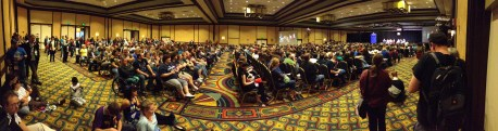 The masses gather for the final panel of Gallifrey One 2013.