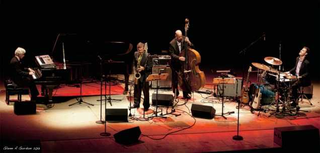 Photo of David Sills on stage at the Disney Concert Hall at KJazz concert June 2013