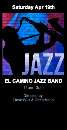 Logo art for El Camino Jazz Band at Lighthouse Cafe 11am-3pm Saturday 19 April 2014