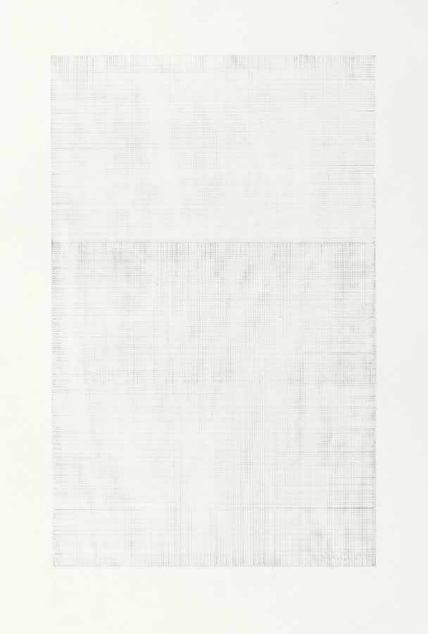 We two erased black squares together clinging too - erased pencil drawing by David Smith