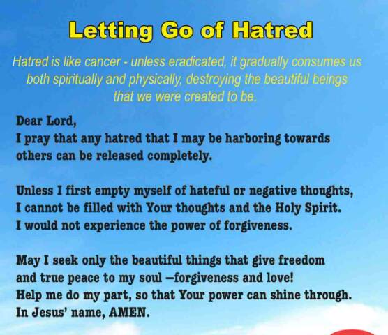 LETTING GO OF HATRED