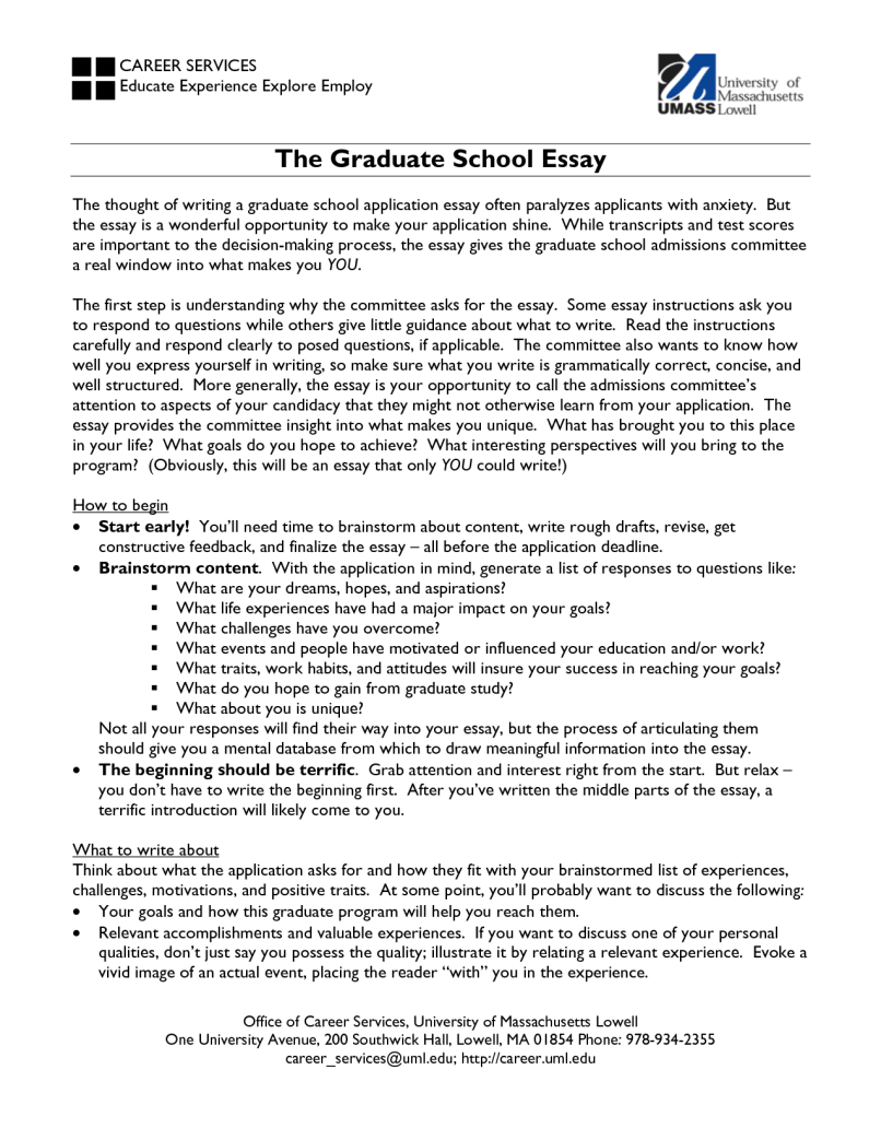 Writing Admission Essay Graduate School Service