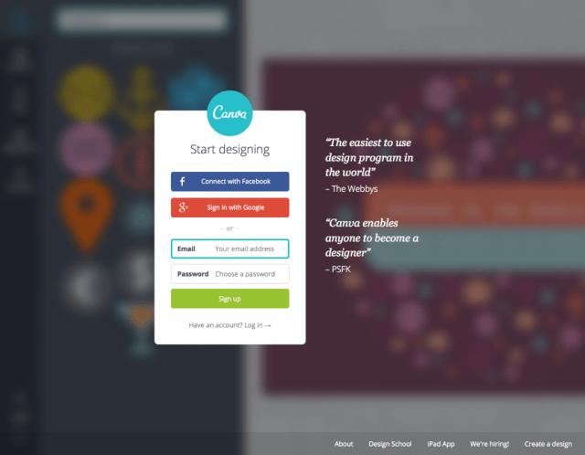 canva.com homepage