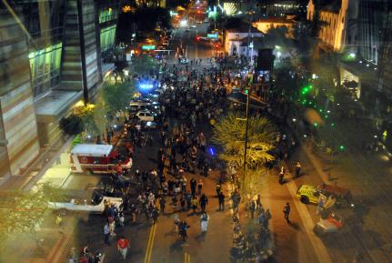 View of the Zombie Walk from the skybridge.