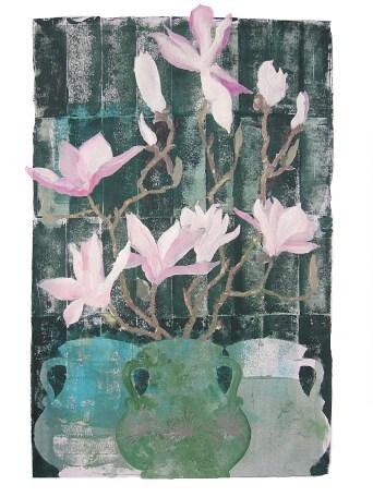 three vases; magnolia. At the Found Gallery, Dunbar.
