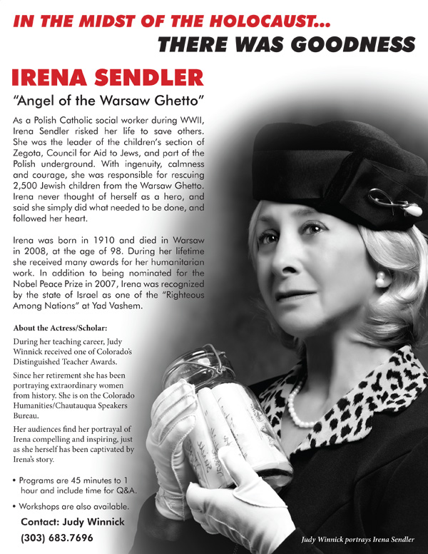 Show poster for Judy Winnick's portrayal of Irena Sendler.