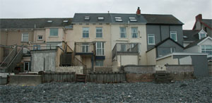 houses on the seafront at Borth