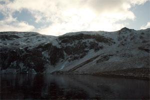 Pumlumon north face in winter.