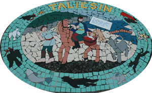 A mural at Borth depicting Taliesin's birth