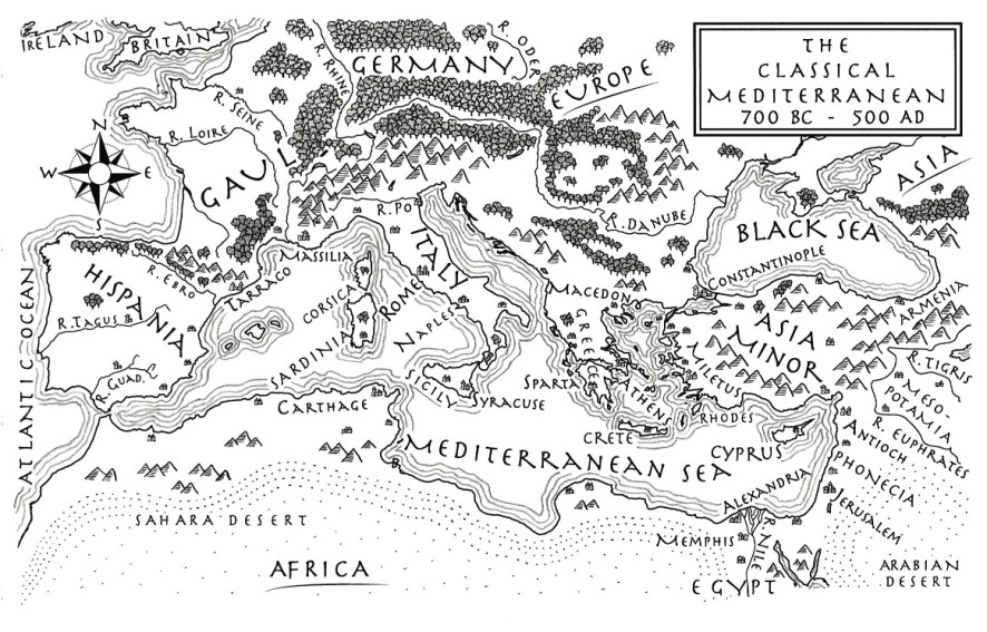 teaching history Western Civilization: map from The Jericho River