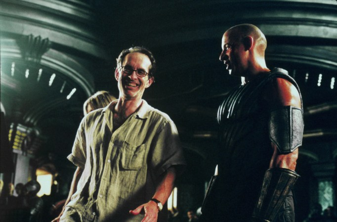 David Twohy and Vin Diesel 2, sharing a laugh toward end of shoot, TCOR, 2013.