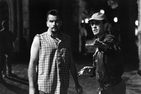 Charlie Sheen and David Twohy, Day of Dead procession, Taxco Mexico, ARRIVAL, 1995.