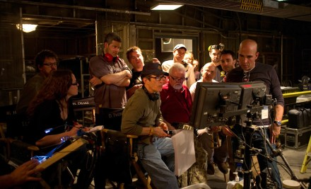 David-Twohy and crew reviewing a take Montreal RIDDICK 2012.