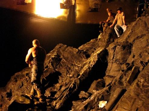 Vin Diesel and David Twohy, on Demon Peak, RIDDICK, 2012.