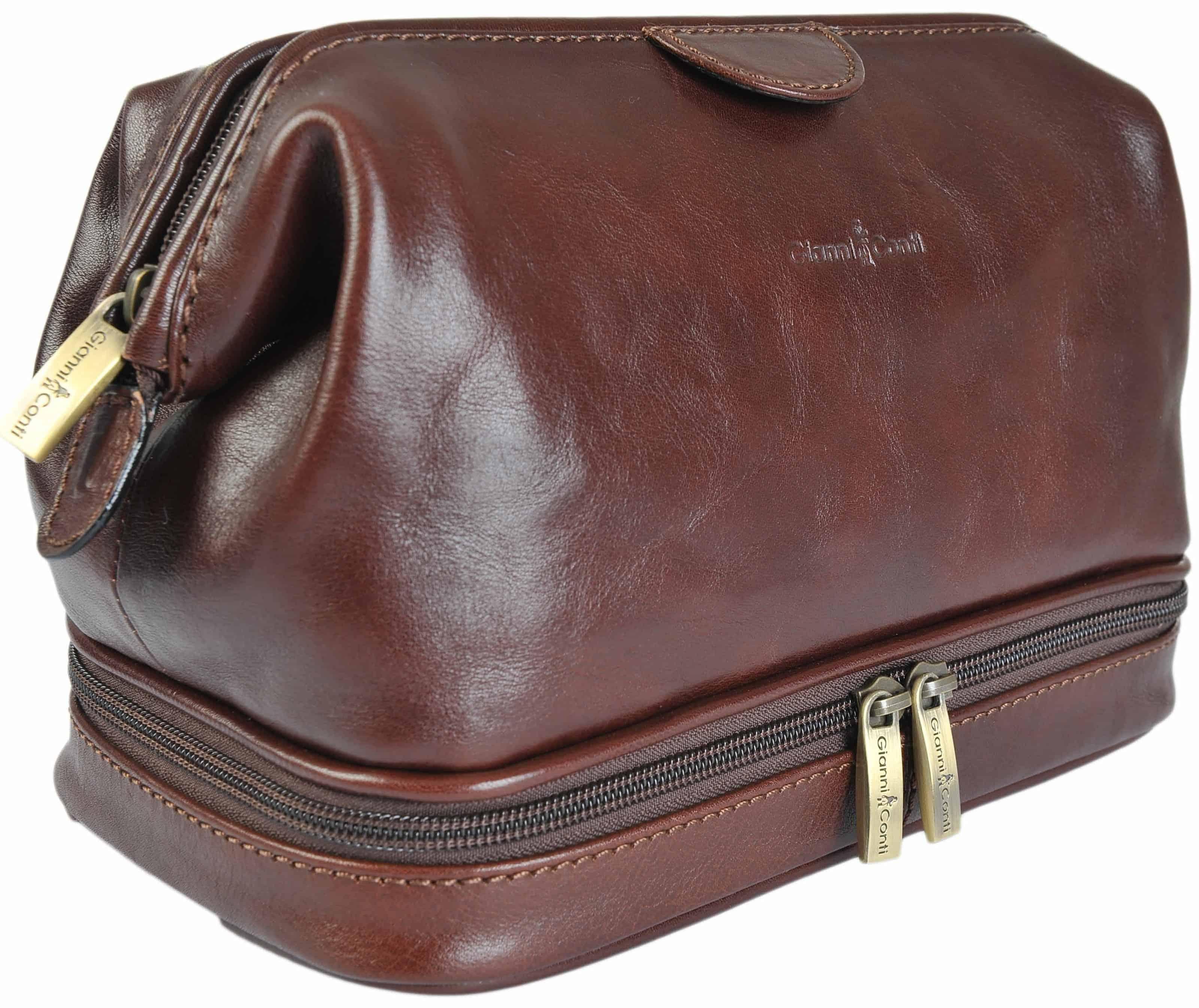 e178dc173d Gianni Conti Fine Italian Leather Brown Frame Travel Wash Toiletry Bag  905011