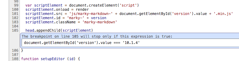 Screenshot showing an example of setting a conditional breakpoint.