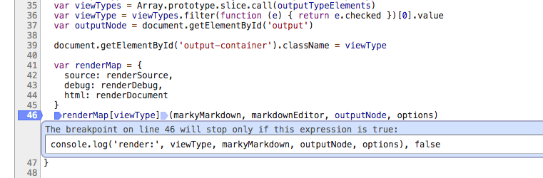 Screenshot showing a conditional breakpoint that does console.log() with some data held locally inside a function