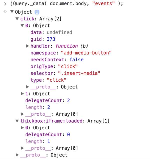 Inspect jQuery Element Events