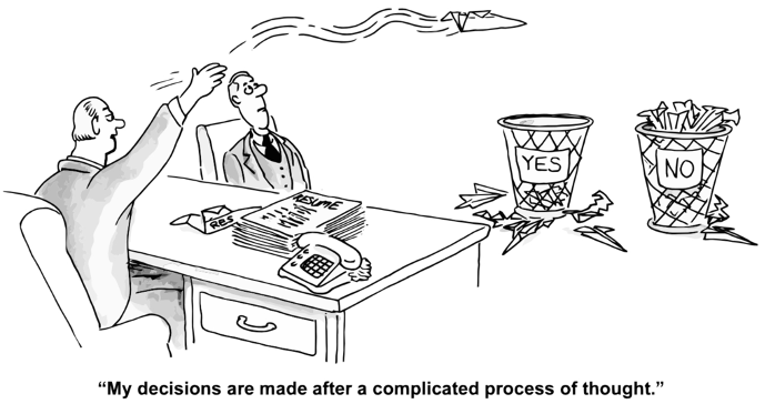 Decision making in the face of uncertainty cartoon. Man throwing a paper airplane to one of two garbage bins marked yes and no.