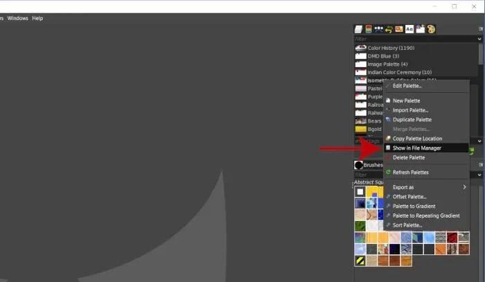 Κάντε δεξί κλικ στην καρτέλα Εμφάνιση στο πακέτο του διαχειριστή αρχείων GIMP 2 10