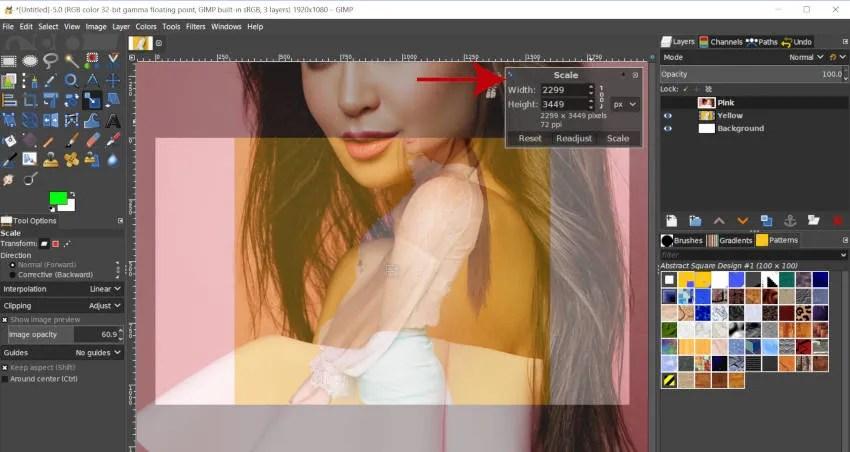 Mērogošanas instrumentu komplekts GIMP 2 10 10