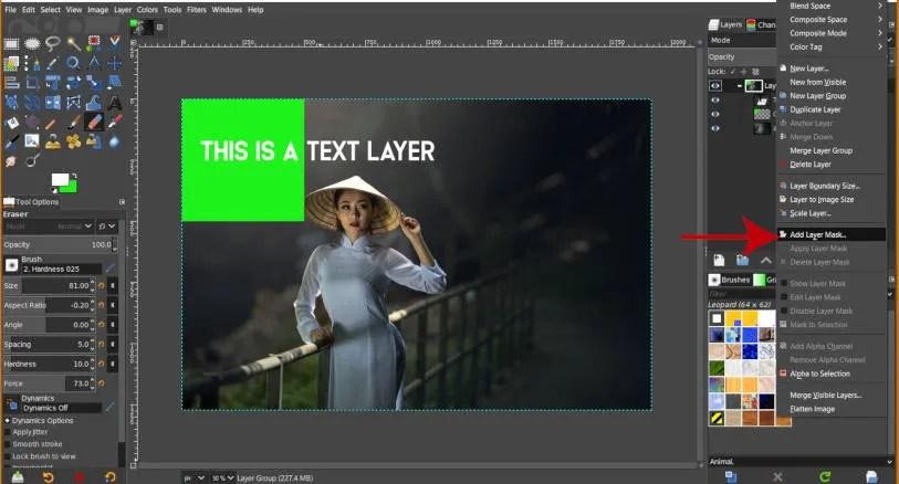 Přidat masku skupiny vrstev v GIMP 2 10