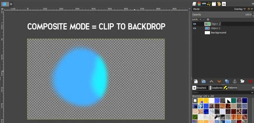 Clip a fondo Modo compuesto GIMP 2 10