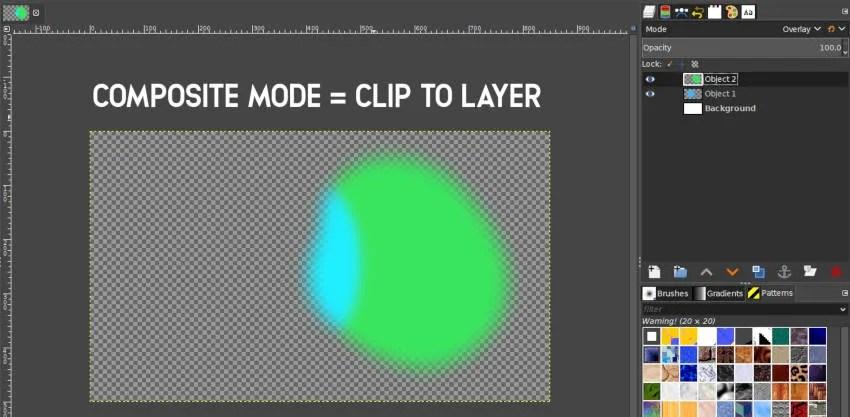 Clip uz Layer Composite režīmu GIMP 2 10