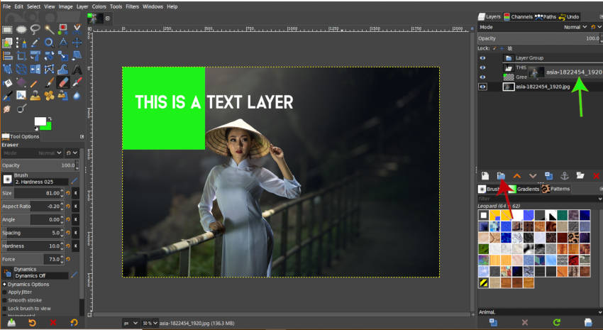 Create layer group in GIMP 2 10 12