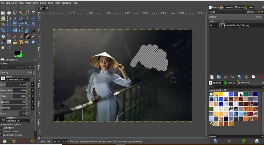 पारदर्शी पृष्ठभूमि GIMP के साथ इरेज़र टूल