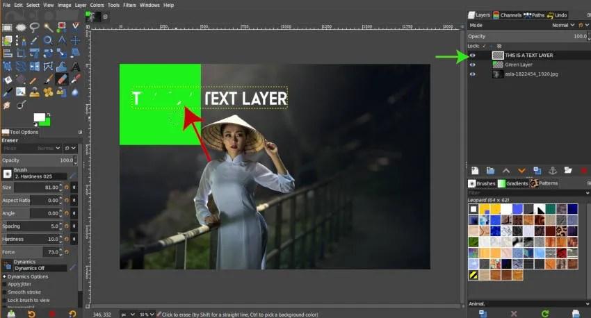 Kasowanie aktywnej warstwy w GIMP 2019